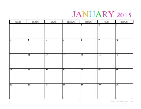 january 2015 calendar template printable january 2015 calendar