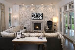 Faux brick wall family room mediterranean with accent wall brick