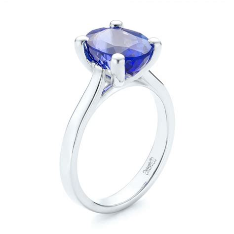 custom blue sapphire and halo engagement ring 103041