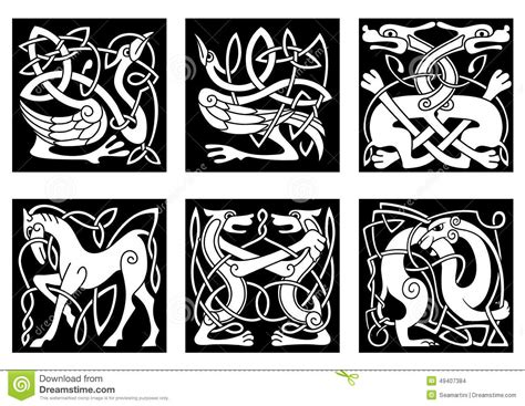 celtic ornaments with animals stock vector illustration