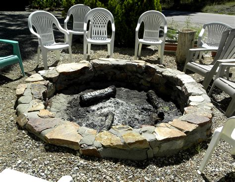 stone firepit for the backyard using native stone and