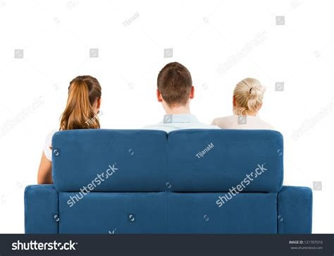 people having on the couch three people sitting on sofa back stock foto 121707010