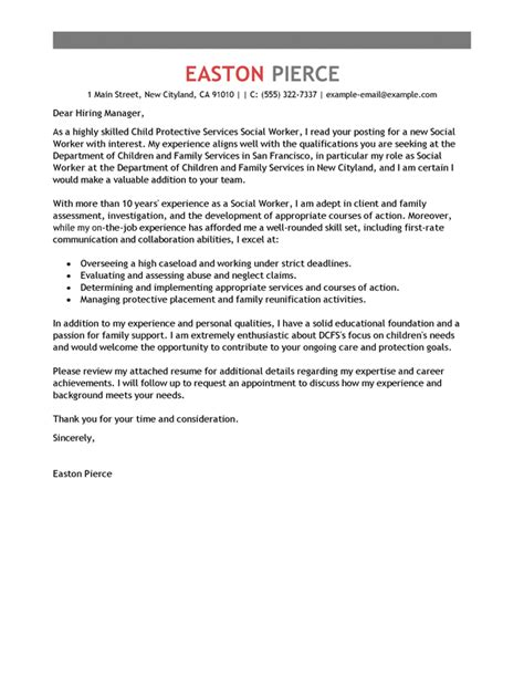 Cover Letter For Human Services by Best Social Services Cover Letter Exles Livecareer