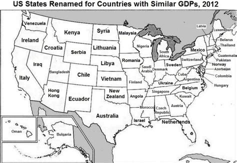 us states economy map this brilliant map renames each us state with a country
