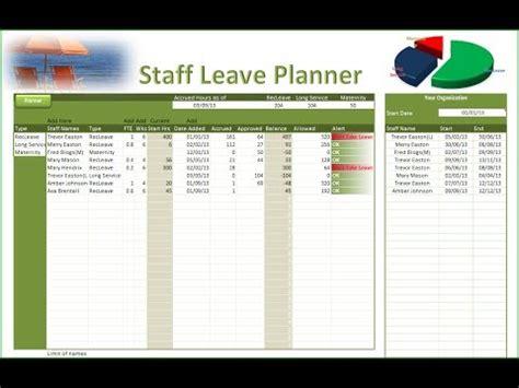 excel leave planner staff leave planner youtube
