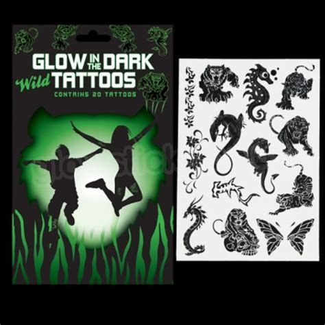 glow in the dark temporary tattoos uk glow in the dark wild temporary tattoos glow wear