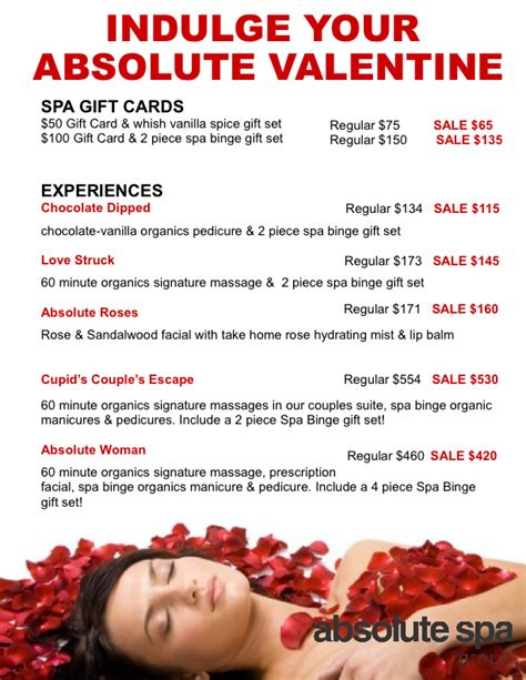 valentines spa specials s 2013 specials absolute spa