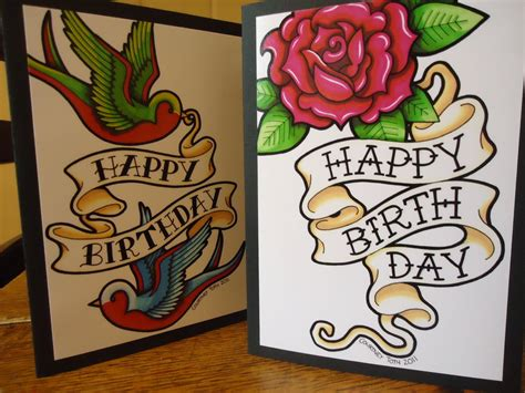 tattoo birthday card finals by metal petey flower on