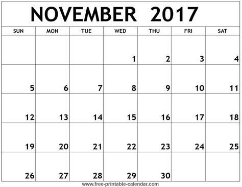 Calendar 2017 November And December Word November 2017 Printable Calendar Calendar Printable Free