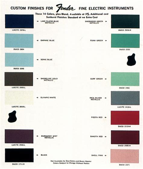 fender guitar colors published collections the dupont colors for fender guitars