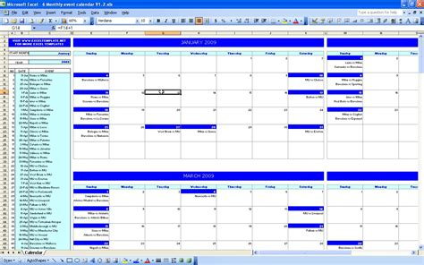 calendar of events template six monthly event calendar excel templates
