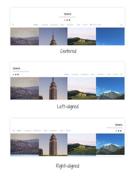 wordpress header layout tempo best minimal portfolio wordpress theme wpzoom