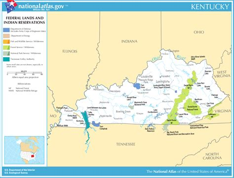 kentucky map america map of kentucky map federal lands and indian reservations