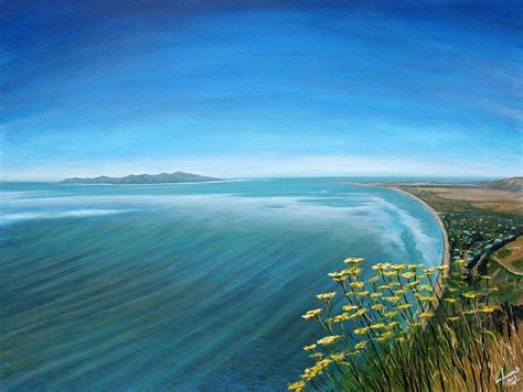 acrylic paint new zealand fennel flowers on paekakariki hill view new zealand
