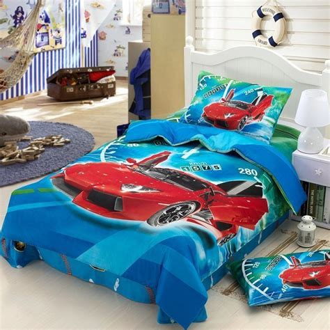 race cars kids boys cartoon bedding comforter set children