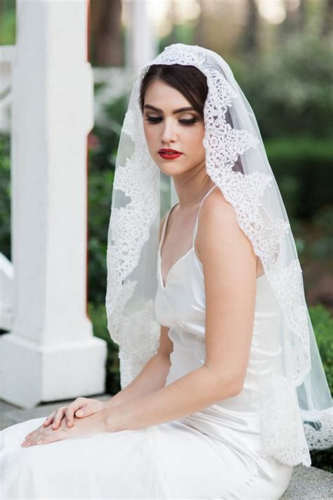 Wedding Hairstyles For Different Dress Types by Leonor Veil Mantilla Veil Lace Veil Bridal Veil