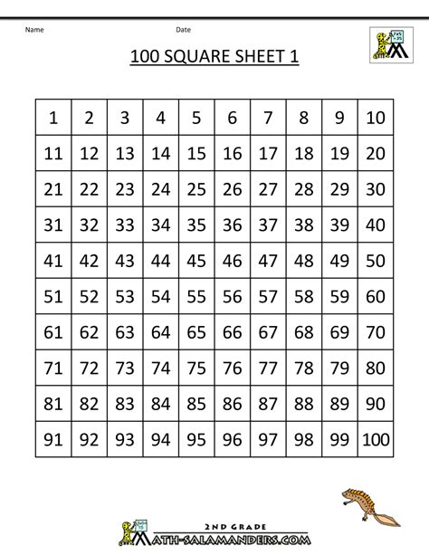 printable square numbers chart number squares worksheets