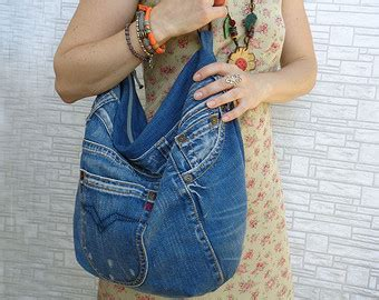 Country 117 Denim hobo bag slouch handbag denim and leather boho country by