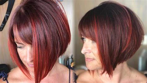 how to cut stack bob with side swept bangs women s inverted bob with side swept bangs on burgundy