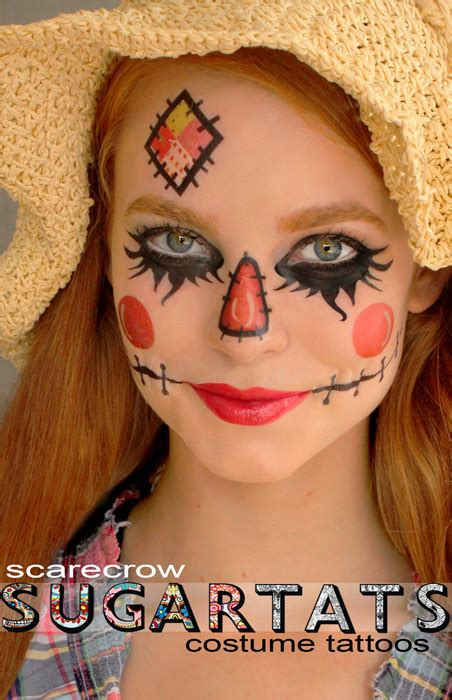 scarecrow temporary tattoos costume dress up fantasy