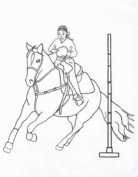 coloring pages of horses barrel racing rodeo coloring pages pole bending color page by