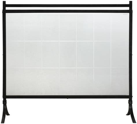 tate black tempered glass fireplace screen 18732 uttermost