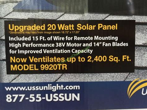 us sunlight solar attic fan costco 892670 us sunlight solar attic fan 20w inf
