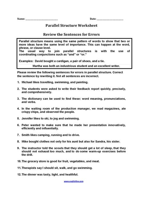 structural pattern in english language review sentences for errors parallel structure worksheets