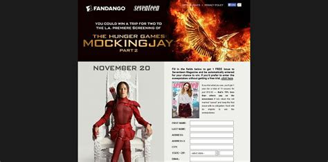 Seventeen Magazine Sweepstakes - seventeen com mockingjaytix seventeen magazine s the hunger games mockingjay