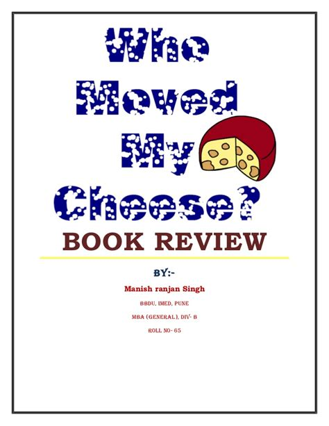 Mba Review Book by Who Moved My Cheese Book Review