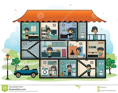 rooms in a house various rooms in the house stock vector illustration of