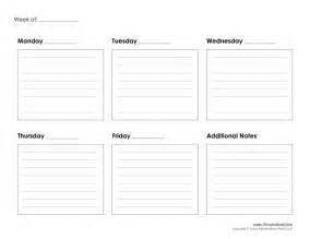 Days Of The Week Calendar Template by Tim De Vall Comics Printables For