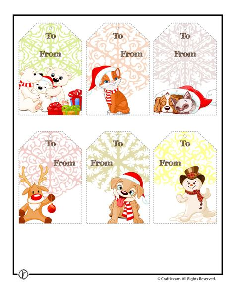 printable christmas tags cute characters woo jr kids