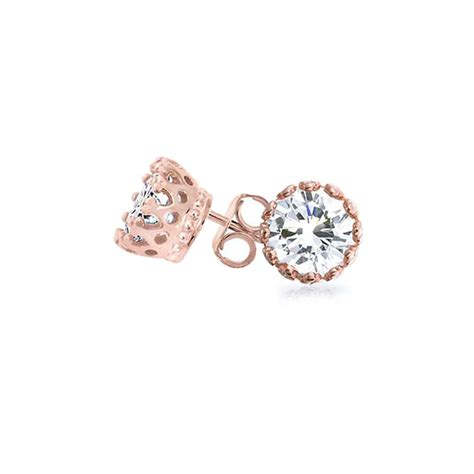 gold plated cz crown stud earrings 925 silver 7mm