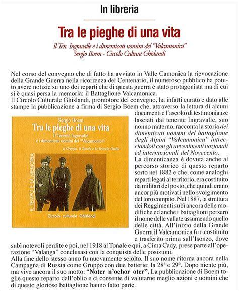 Qui Ubi Valle Camonica by Tra Le Pieghe Di Una Vita Il Tenente Ingravalle E I
