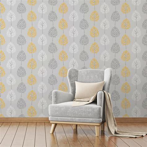 grey yellow wallpaper uk fine decor tree grey yellow wallpaper fd41594