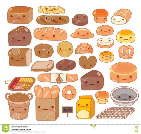 food doodle bread collection of lovely baby bakery food doodle icon stock