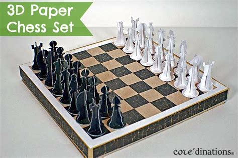 Chess Papercraft - diy chess set with 3d paper pieces darice