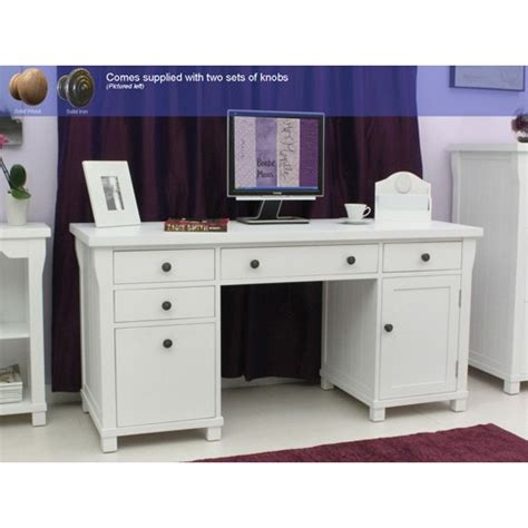 hton white painted double pedestal computer desk