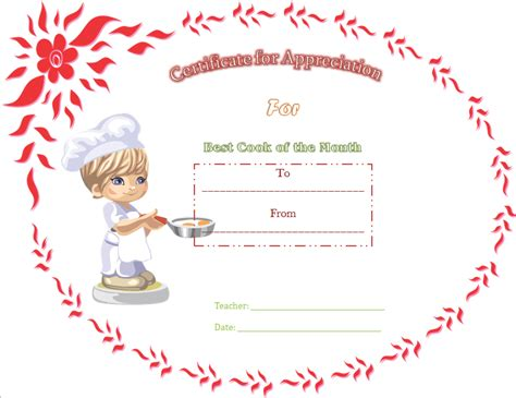1st prize certificate template best cooking appreciation certificate template