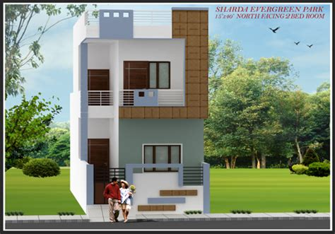 home design 15 x 30 row house size 15 x40 north facing sharda infra elevations