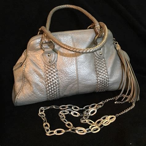 Elliot Lucca Etoile Silver Leather Purse by 72 Elliott Lucca Handbags Elliott Lucca Leather