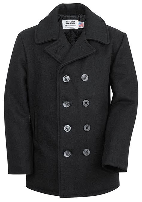 Jaket Pea Coat Navy Original U S A classic 32 oz melton wool naval pea coat mens pea coat