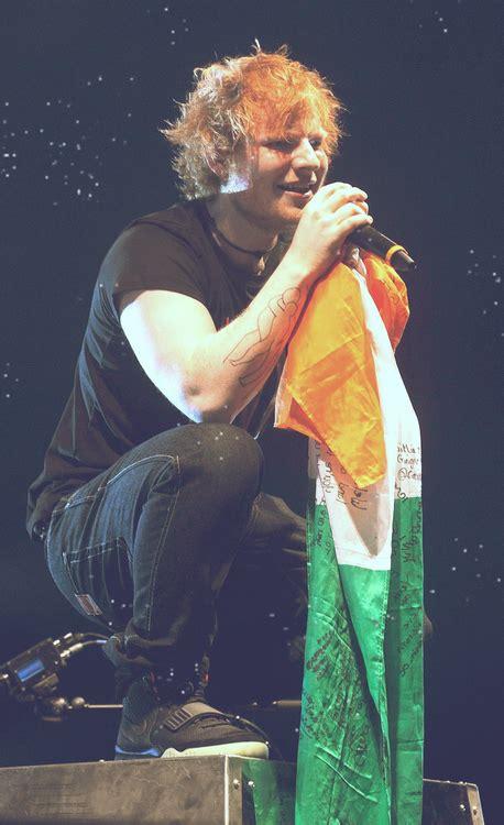 ed sheeran irish tattoo an irishman with an irish flag at an irish concert in