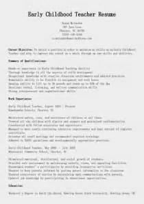 Early Childhood Education Resume Template by Resume Sles Early Childhood Resume Sle