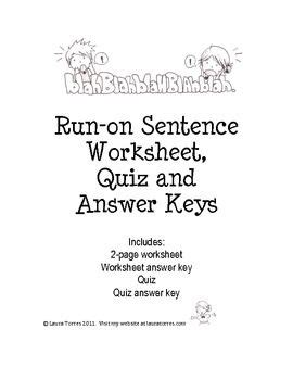Run On Sentence Worksheet Answers by The World S Catalog Of Ideas