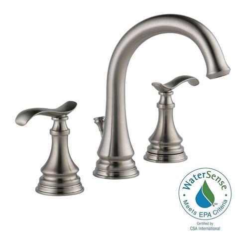 delta bathroom faucets brushed nickel delta kinley 8 in widespread 2 handle bathroom faucet in