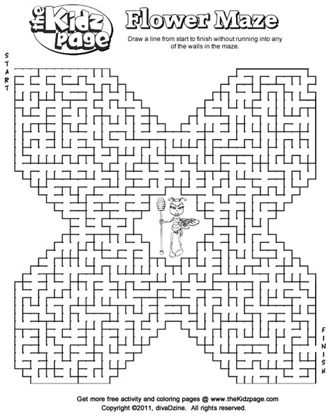 printable spring maze free mazes printable flower maze free coloring pages