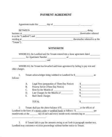 Payment Agreement 9 Free Documents In Word Pdf Payment Agreement Template Pdf
