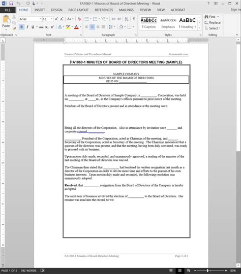 Board Of Directors Meetings Procedure Board Meeting Motion Template